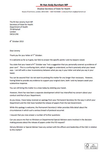 Andy Burnham Receives Apology From Department Of Health