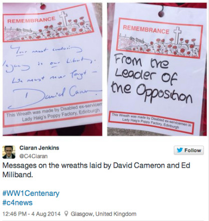 Ed Miliband First World War Centenary wreath