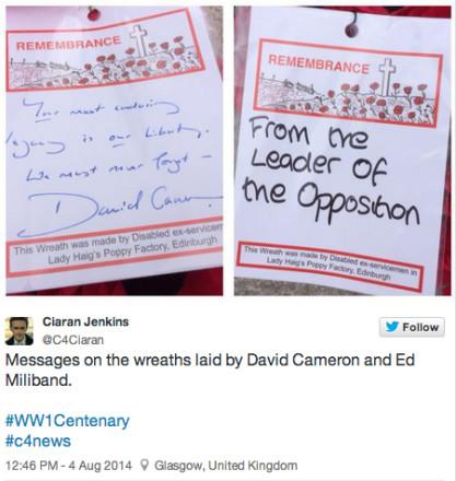 Ed Miliband First World War Centenary wreath
