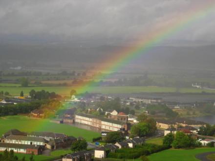 Scotland rain rainbow