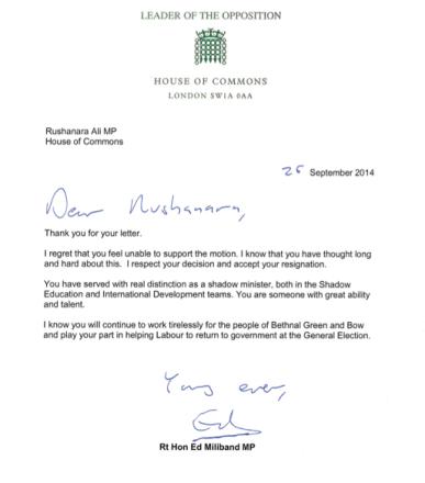 Miliband Rushanara response