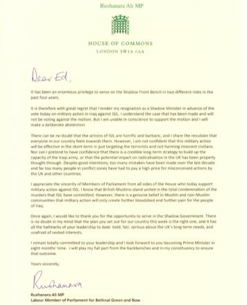 Rushanara Resignation letter