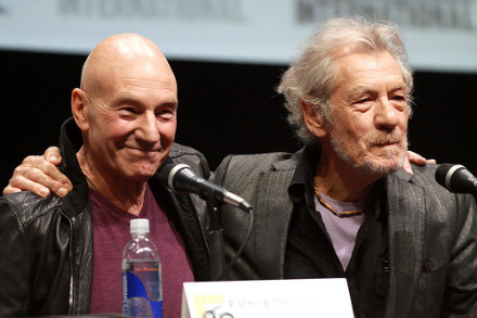 Photo of Ian McKellen & his friend  Backs Labour -