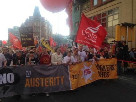Unite trade union demo austerity