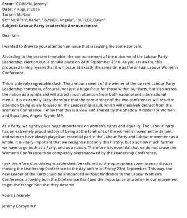 Corbyn McNicol women's conference